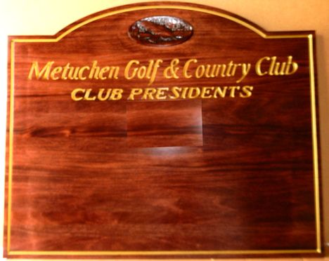 E14716 - Carved Mahogany Wooden Wall Plaque for Names of Golf Club Presidents with Carved Club Logo and 24KGold Leaf Text and Borders
