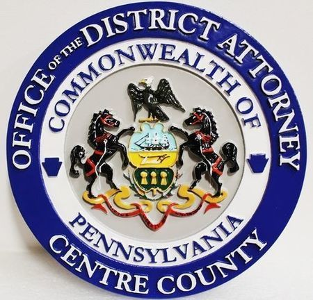HP-1042 - Carved Plaque of the Seal of the District Attorney, Centre County, Pennsylvania, 3-D Artist-Painted