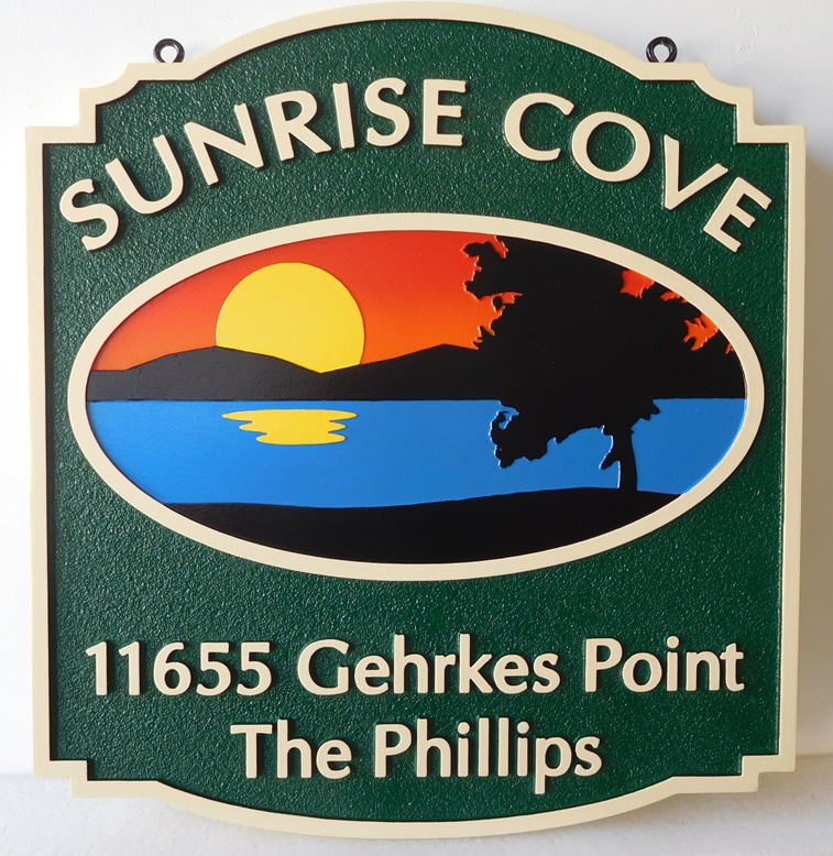 """L21209 - Carved and Sandblasted 2.5-D HDU Coastal Residence  Residence Address  Sign """"Sunrise Cove"""" featuring a Sunrise over the Mountains, a Cove, and a Tree in Silhouette"""