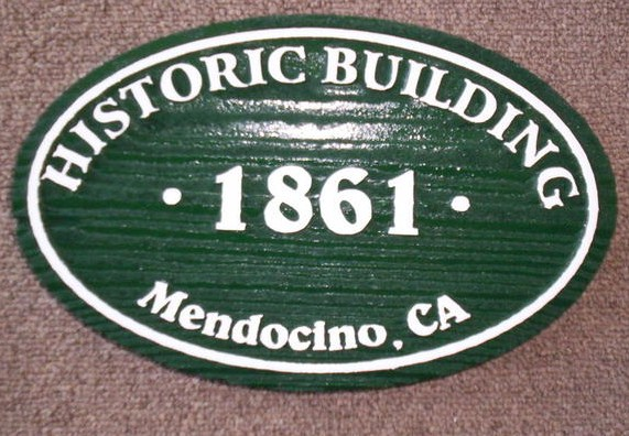 F15410 - Carved Painted Wood Sign with Date of Historic Building in Mendocino, CA