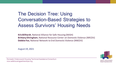The Decision Tree: Using Conversation-Based Strategies to Assess Survivors' Housing Needs