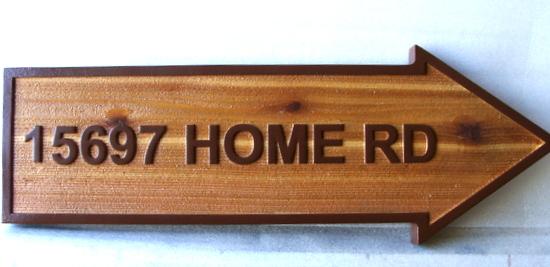 I18946  - Carved Cedar Home  Address Arrow Sign