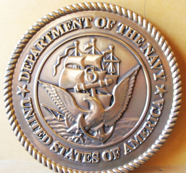 JP-1160 -  Carved Plaque of the Great Seal  of the US Navy, Bronze Plated