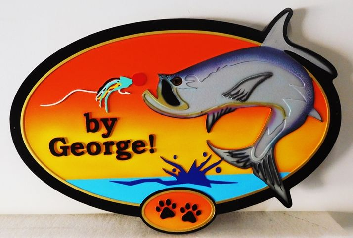 "M22577 - Carved Lake House Name Sign ""By George!""  with a Fish Catching a Lure on a Fishing Line"