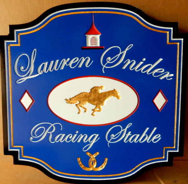P25166 - Elegant Carved HDU Racing Stable Entrance Sign, with Gold-Leaf Horse & Jockey and Horseshoes