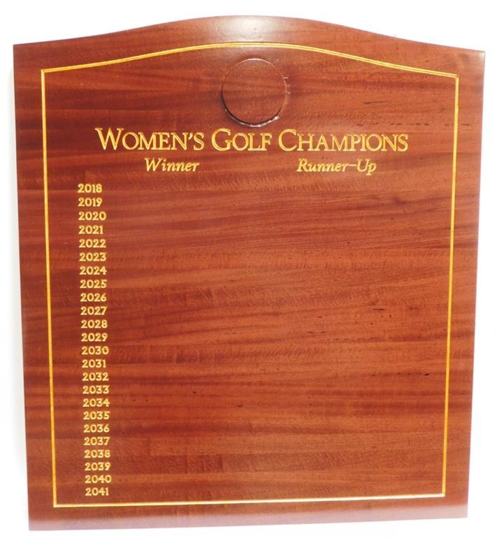 SB1240 - Women's Club Champions Perpetual  Plaque with the Names of  Champions Engraved in African Mahogany and Gilded with 24K Gold Leaf