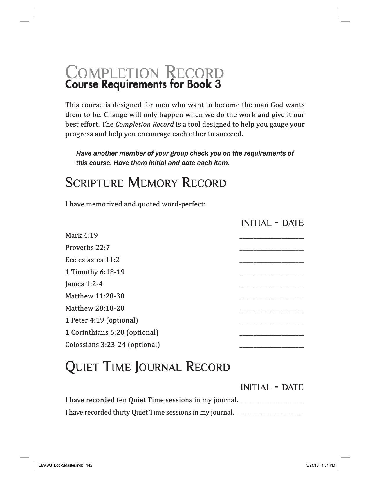 Completion Record EMAW Book 3