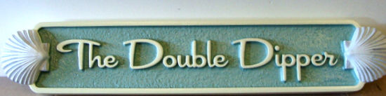 "L21884 - Quarterboard for Beach House with 3-D Shells, the ""Double Dipper"""