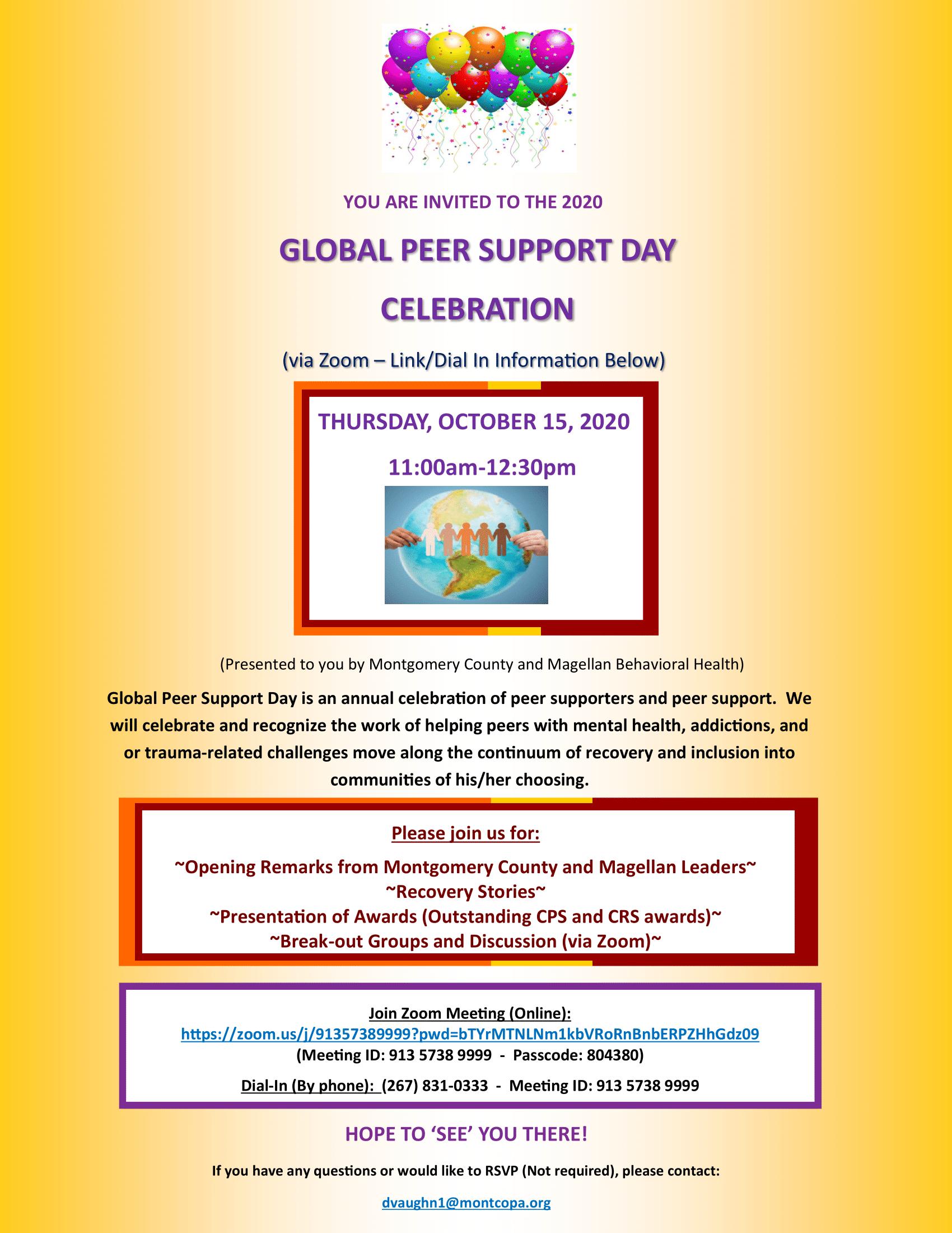 2020 Global Peer Support Day Celebration