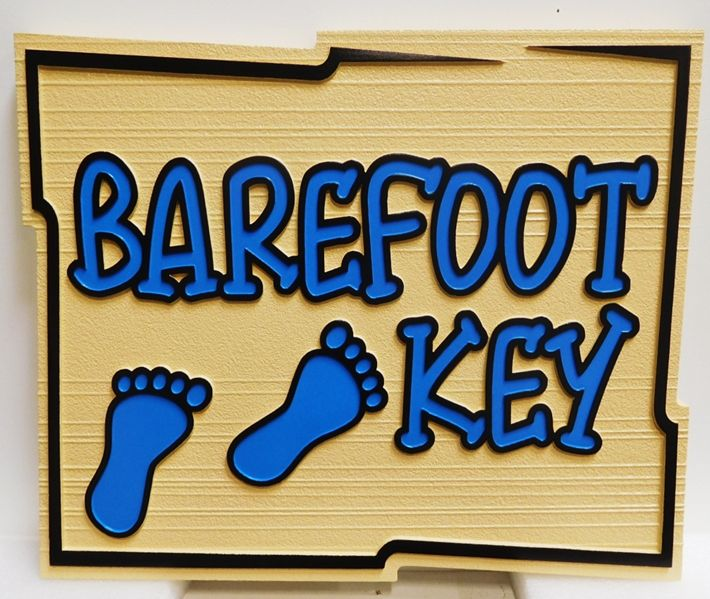 "L21096 - Carved and Sandblasted ""Barefoot Key"" Beach-house Sign, with Two Footprints in the Sand"