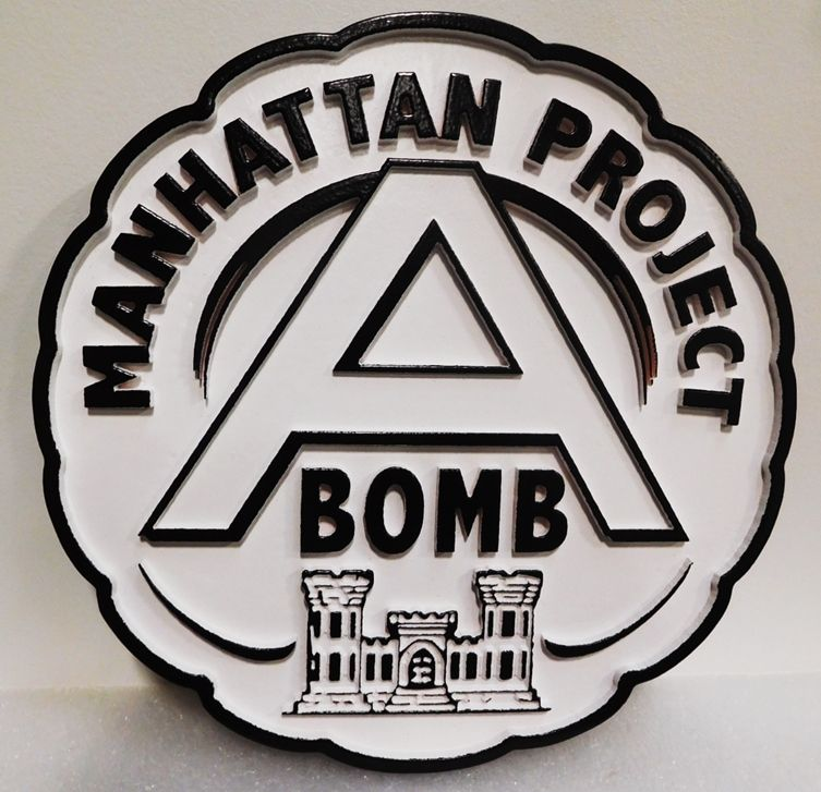 IP-1727 - Carved Plaque of the Emblem for the Manhattan Project, 2.5-D Artist-Painted