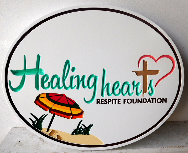 "L21059 - Engraved  HDU  Beach House Sign ""Healing Hearts """