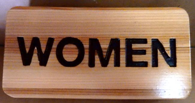 RB27194 - Engraved Cedar Wood Women's Restroom Sign