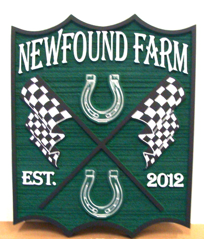P25156 - NewFound Equine Farm Sign, with Horseshoes and Racing Flags