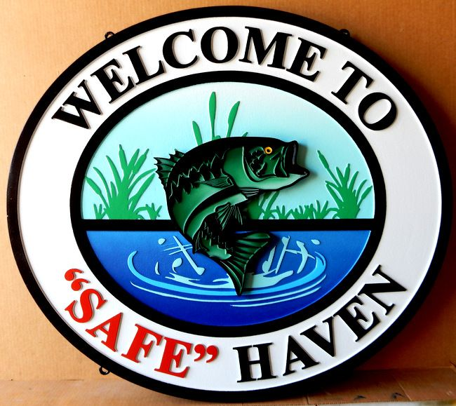 """M22584 - Carved HDU Sign with Leaping Fish: Welcome to """"Safe"""" Haven"""