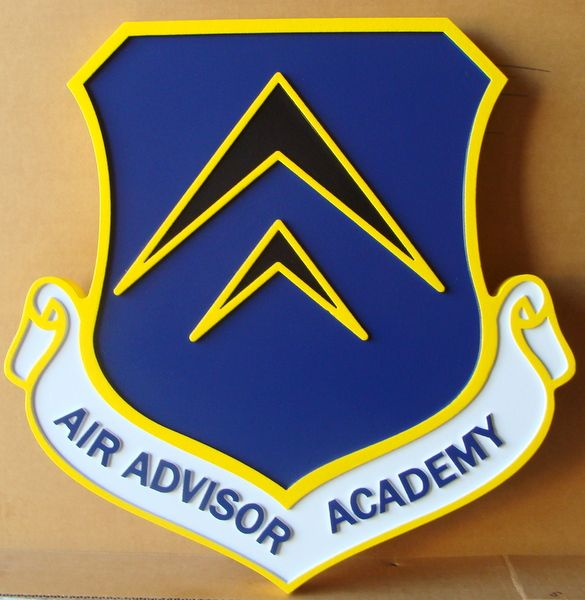 V31593 - Carved Wall Plaque of Shield and Crest for the Air Advisor Academy