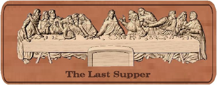 D13310 - Last Supper, Carved  Wood Bas Relief Plaque