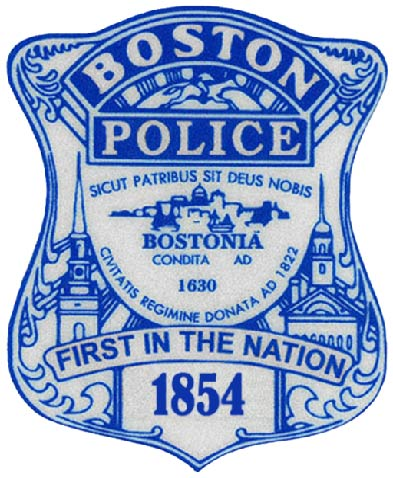 X33410 - Boston Police Badge Carved Wood Plaque