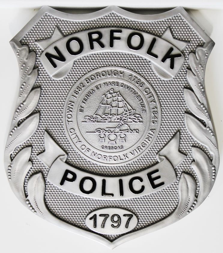 PP-1473 - Carved 3-D Bas-Relief HDU Plaque of the Badge of the Norfolk Police Department , Virginia