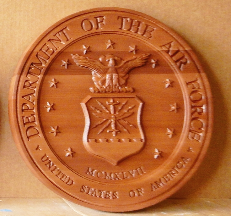 LP-1120 - Carved Plaque of the Seal  of the US Air Force, Mahogany Wood