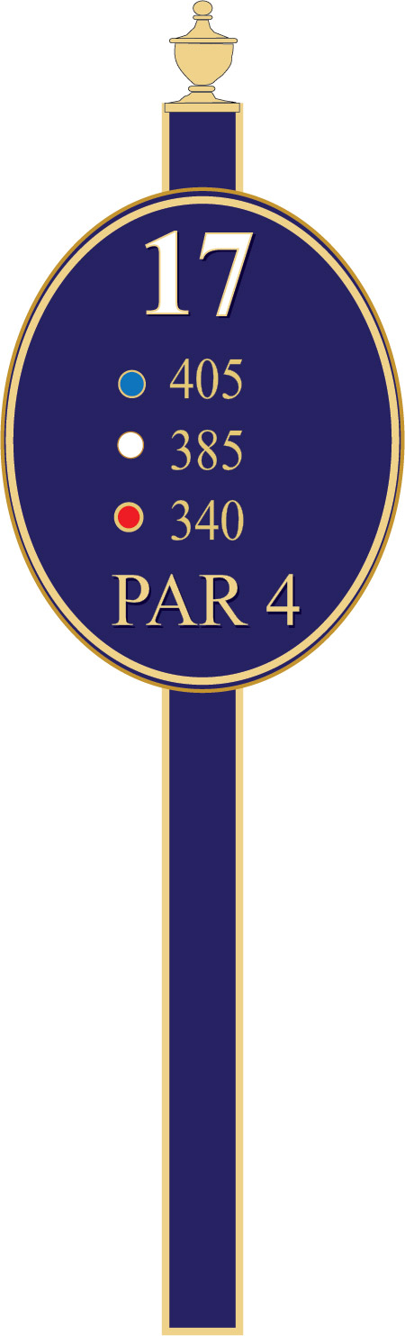 E14371 - Blue and Gold Golf Tee Sign on a Steel Post