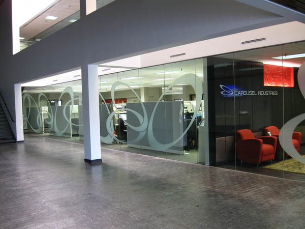 Interior Lobby Mural / Graphic Signage, Etched Look Vinyl Graphic Patterns On Glass Wall