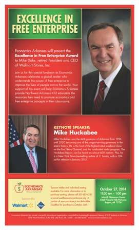 Join us for Excellence in Free Enterprise awards luncheon honoring Mike Duke