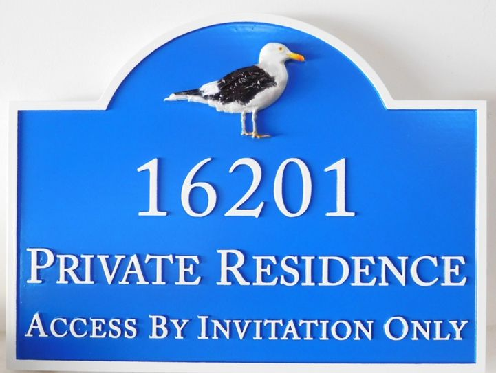 L21653 - Seashore Home Address Sign with a Carved 3D Standing Seagull as Art.