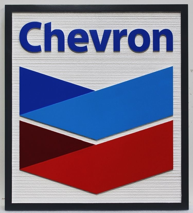 S28200 -  Carved 2.5-D and Sandblasted Wood Grain HDU Sign for a Chevron Gas Station
