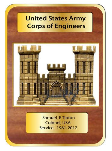 MP-2780 - Engraved  Retirement Plaque for  the US Army Corps of Engineers (USACE), Personalized Retirement,  Artist Painted  Mahogany Wood  with Brass Plates