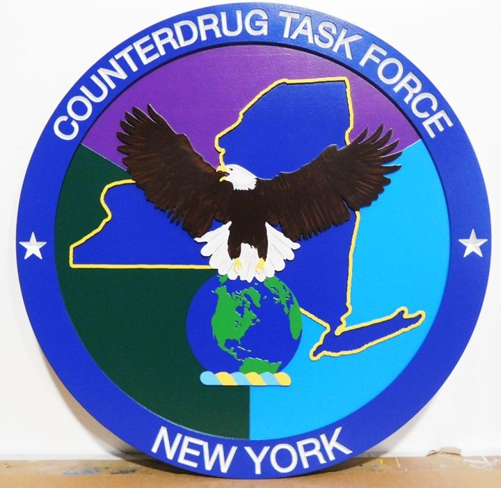 AP-2551 - Carved Plaque of the Seal of the Counterdrug Task Force, New York