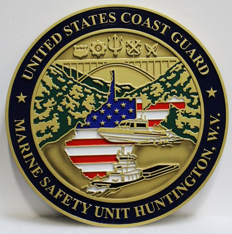NP-2326 - Carved 2.5-D HDU Plaque of the Seal of US Coast Guard Marine Safety Unit, Huntington, West Virginia