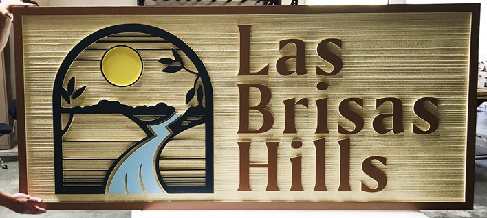 "K20190 - Carved HDU Entrance Sign  for ""Las Brisas Hills"" Residential Community, with Wood Grain Sandblasted Background"