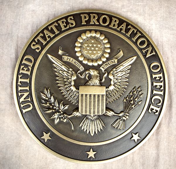 A10838 - Carved 3-D Polished  Brass-Coated Wall Plaque for US Probation Office