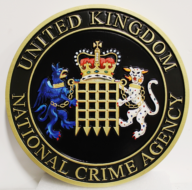 PP-3062 - Carved Plaque of the Seal / Coat-of-Arms  of the United Kingdom National Crime Agency, 2.5-D, Artist Painted