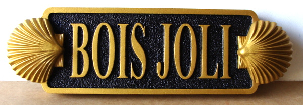 "L21888 - Carved HDU Quarterboard Property Name Sign ""Bois Jolie"" Sign for Coastal Residence, with 3-D Seashells"
