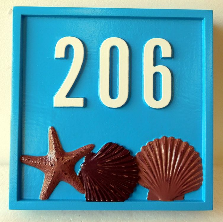 L21505 - Carved 3-D HDU  Address or Unit Number Sign, with Starfish and Clamshells