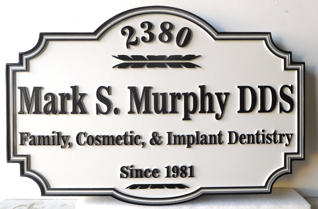 BA11558 - Carved High-Density-Urethane (HDU) Dental Office Sign, with Street Address Number