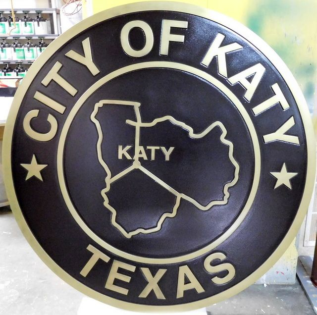 M7151 - PolishedBrass Wall Plaque for the Seal of the City of Katy, Texas