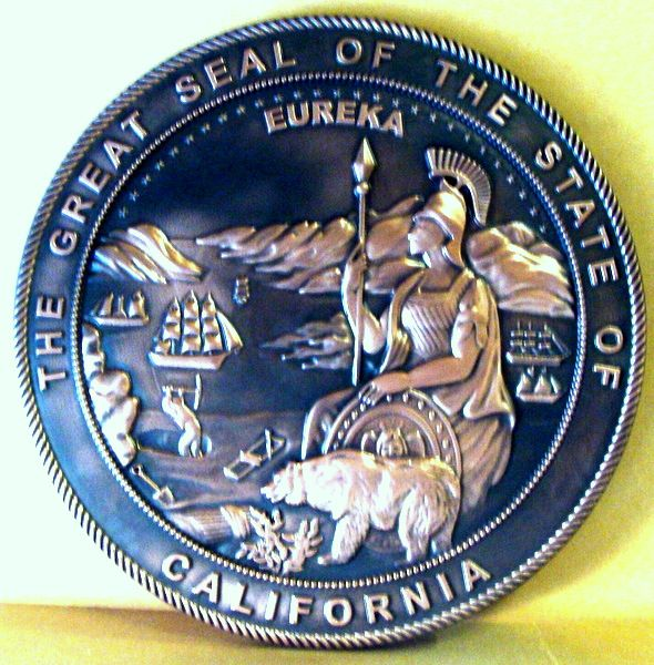M7208 -  Carved 3D Seal of the State of California, Polished Copper with Dark Patina