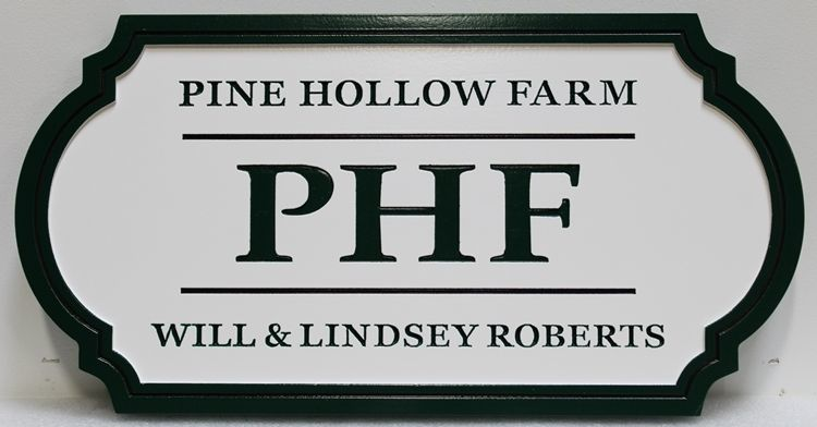 O24055 - Carved and Engraved HDU Sign for the Pine Hollow Farm (PHF)