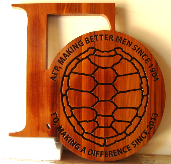 SP-1340 - Engraved Wall Plaque of College Fraternity Coat-of-Arms / Crest,  Cedar Wood
