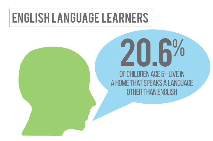 20 percent of children in Hall County Nebraska live in a home where a language other than English is spoken.