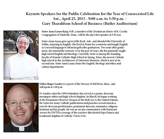 Keynote speakers Sr. Anna Laura Karp, O.P. and Fr. Roger Landry to speak at Year of Consecrated Life Celebration