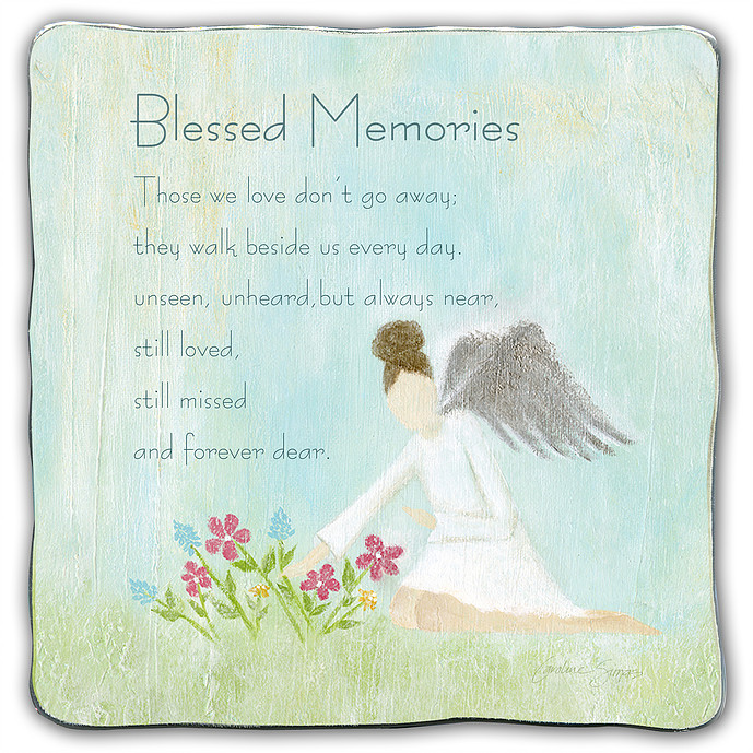 Blessed Memories square plaque