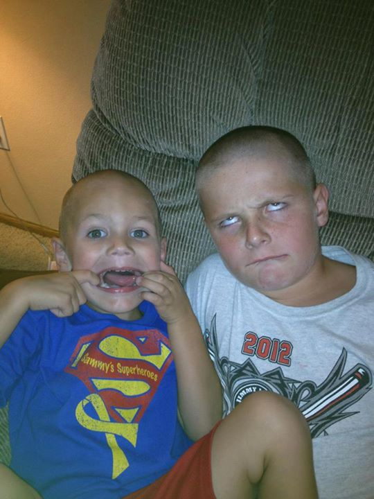 Sammy & Cooper being silly (Cooper also shaved his head for Sammy)