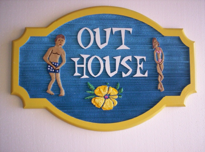 "GB16802 - Carved, Wood Grain Texture, HDU Sign for ""Out House"" Near Bathing Area or Pool"