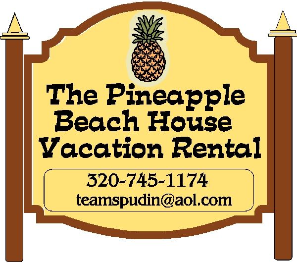 L21801- Beach House Vacation Rental Sign with Two Posts and a Large Pineapple