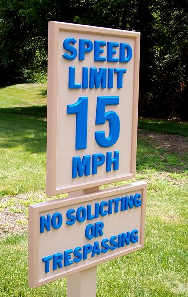 CNC ROUTED SIGN, SPEED LIMIT SIGN