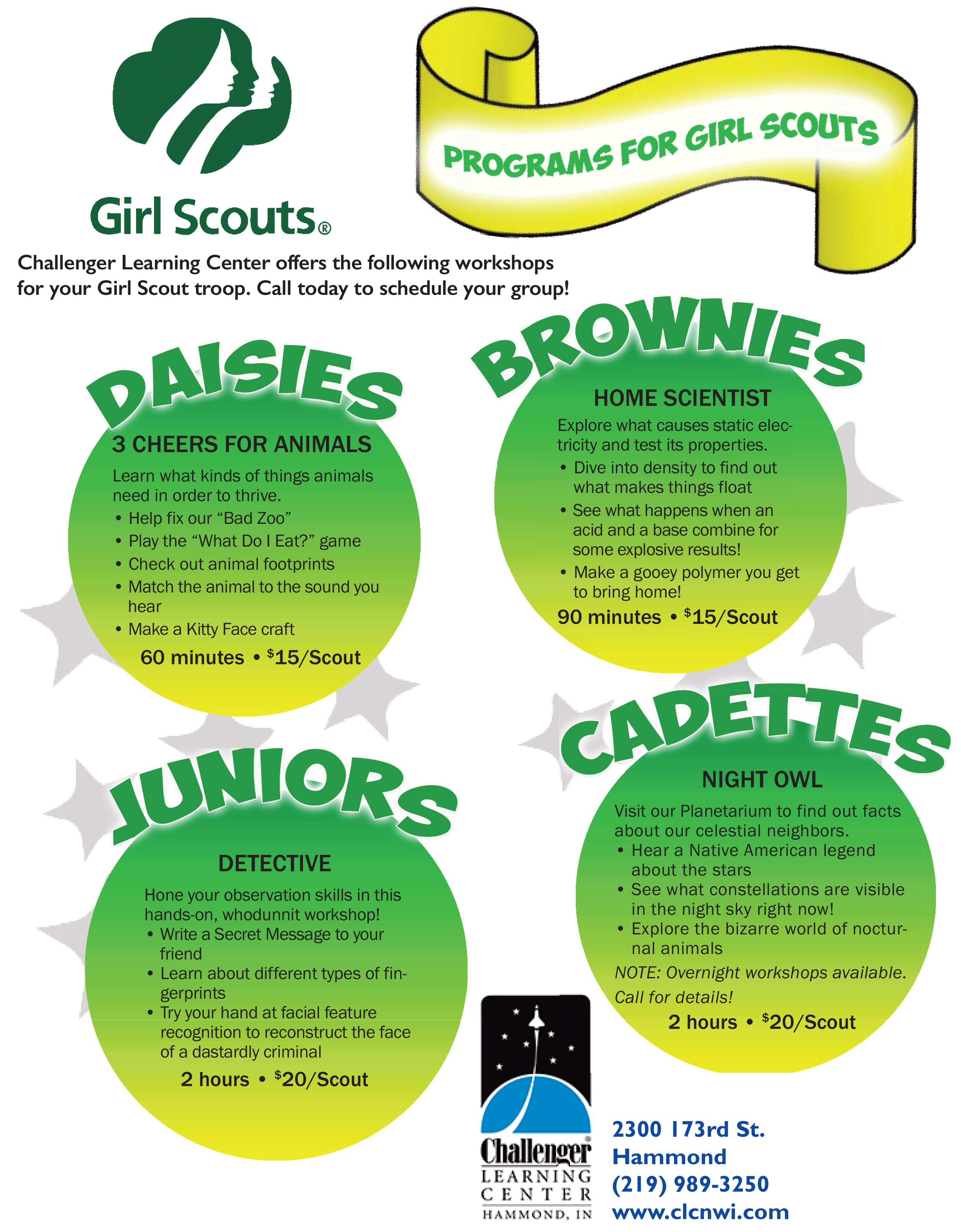 interactive learning for girl scouts challenger learning